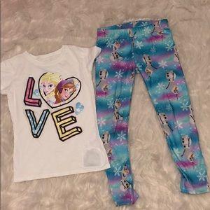 Disney Frozen Anna Elsa Olaf outfit pants shirt 4